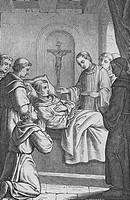 The holy Robert files dying his creed, historical steel engraving from the year 1860