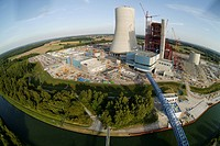 Aerial view, fisheye, EON Datteln 4 coal-fired power plant, power station construction site, building freeze, Emscher-Lippe, Datteln, Ruhrgebiet regio...