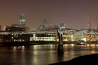 Millennium Bridge over the Thames at night, London, England, United Kingdom, Europe