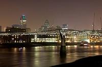 Millennium Bridge over the Thames at night, London, England, United Kingdom, Europe