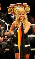 Boxing, ring card girl with German flag, the WBO cruiserweight championship belt behind, Neue Arena Ludwigsburg, Baden-Wuerttemberg, Germany, Europe