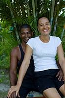 Creole couple with a different skin color, symbolic image white on black, island of La Digue, Seychelles, Africa, Indian Ocean