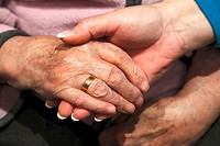 people, old age, retirement home, Altenzentrum der St  Clemens Hospitale in Sterkrade, a nurse holds the hand of an older woman, close-up, Waltraut, E...