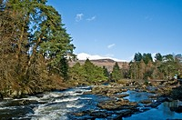 River Dochart & Falls of Dochart Killin Stirling District in winter Scotland