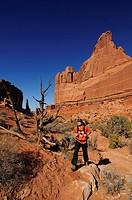 Hiker, Park Avenue, Arches National Park, Moab, Utah, USA