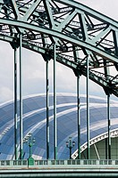 Newcastle's landmark Tyne Bridge with the Sage building  England