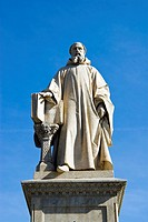 Statue of Guido of Arezzo or Guido Aretinus or Guido da Arezzo or Guido Monaco or Guido d´Arezzo, inventor of modern musical notation staff notation, ...
