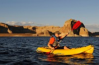 Kayaker, Lake Powell, Glen Canyon, Arizona, United States