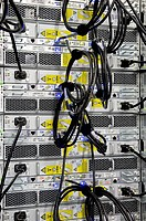 Cables, wiring, computers, servers, computer center