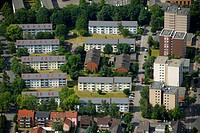 Aerial photo, Schaffrath Solar Village, Hegerothstrasse, F & S solar concept, Buer, Gelsenkirchen, Ruhr area, North Rhine-Westphalia, Germany, Europe