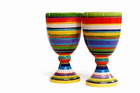 Two hand painted porcelain goblets featuring colourful horizontal bands  Isolated