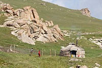 Those Kirghiz people who lead a nomadic lifestyle live in a yurt - the round, felt-covered tent that has been the traditional dwelling throughout cent...