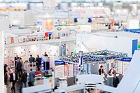 Exhibition booths from the pharmaceutical industry in exhibition hall 6 at the Medica - International Trade Fair & Congress for Medicine in Duesseldor...