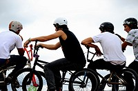 Bikepark competitors in BMX bicycle Festibal