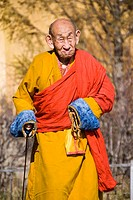 Buddhist monk at the Gandantegchinlen Khiid monastery, Ulaan Bataar, Mongolia