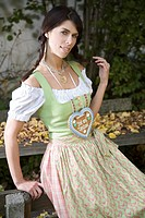 Woman wearing a Dirndl with a Gingerbread Heart