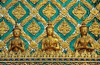 Group of figures: Hor Phra Gandhararat in Wat Phra Kaeo Grand Palace (Temple of the Emerald Buddha), Bangkok, Thailand, Southeast Asia, Asia