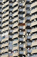 Apartment tower with balconies and satelite dishes, Chorweiler near Cologne, North Rhine_Westphalia, Germany, Europe
