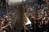 Romería, pilgrimage, at El Rocío, Blanca Paloma, virgin procession, Almonte, Huelva province, Spain, Europe
