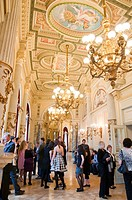 Semperoper opera house, foyer with people, Dresden, Saxony, Germany, Europe