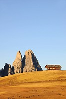 Cabin on the Seiser Alm mountain pasture with Mt. Schlern, Dolomites, South Tyrol, Italy, Europe