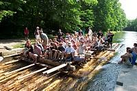 Raft at Flossland Kanal ( Isar ) in Thalkirchen - Munich - Bavaria