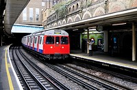 A Circle Line Train at Sloane Square Underground Tube Station, London, England, Uk