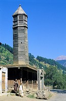 Pakistan, Swat valley, Kalam region, Traditional wooden mosque.