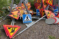 traffic signs storage pile