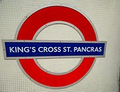 London underground roundel Kings Cross St Pancras station   London Underground Tube filmed under film permit issued by Kate Reston London Underground ...