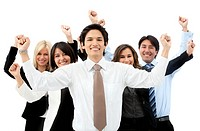 Successful business team with arms up isolated over a white background
