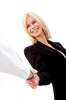 Business woman handshaking with an other person _ isolated over a white background.