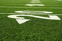 A shot of an american football field