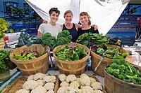 Women selling produce at farmers´ market, Arcata, California