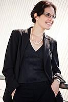 A portrait of a hispanic businesswoman outdoor
