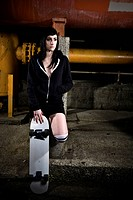 A beautiful skater teen girl outdoor