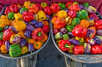 Organic bell peppers at Farmers' Market, Arcata, California