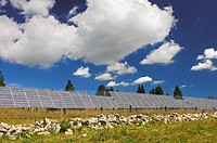 Silicon solar panels of a solar power farm, Photovoltaics centre Mont Soleil, St  Imier, canton of Jura, Switzerland