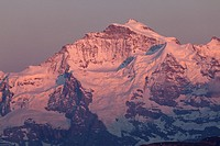 Jungfrau in sunset light, Bernese Oberland, Switzerland