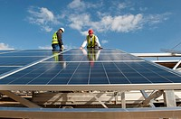 Construction of solar panels for production of renewable electrical energy in the site of 'Puits Castan' old mine, Villaniere Aude Languedoc-Roussillo...