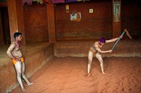 India, Maharashtra, Kolhapur, Motibag Thalim, name of the wresling school, traditional Kushti, practice since more than 3000 years, young boys leave a...