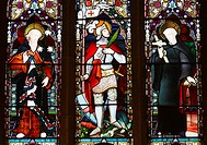 Stained glass window depicting Saint George and Dragon in St  Mary's cathedral, Newcastle upon Tyne, England, United Kingdom