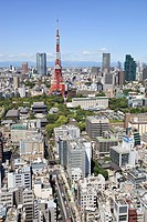 Tokyo Tower with Roppongi Hills and Tokyo Midtown in the distance.