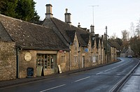 The main road and post office at Bibury in the cotswolds