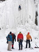 Group of ice climbers at a frozen waterfall  Wintertime scenic, Ontario, Canada