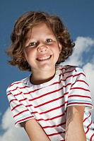 Germany, Bavaria, Girl 8_9 Years smiling, portrait
