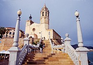 Sant Bartomeu i Santa Tecla church and staircase. Sitges, Barcelona province, Catalonia, Spain