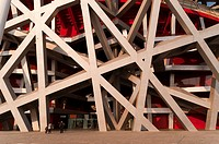Bird's Nest National Stadium by architects Herzog and De Meuron, 2008, Olympic Green, Beijing, China, Asia