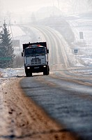 truck circulating on an icy road  Jelenia gora, Poland