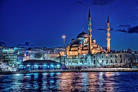 An Istanbul night with lights and reflections from Golden Horn
